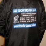 Jonas Druck individuelle Veredelung der Arbeitsbekleidung für AW Showtechnik.