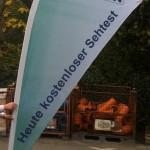 Jonas Druck Beachflag als Außenwerbung für Rzychon.